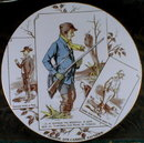 SARREGUEMINES PLATE - Wild DUCK Hunting - ANTIQUE