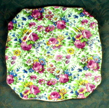 ROYAL WINTON Summertime CHINTZ Square PLATE - 7 inch -