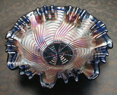 FENTON Ribbon Tie or Comet CARNIVAL Glass Bowl - BLUE -