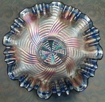 FENTON Ribbon Tie or Comet CARNIVAL Glass Bowl - BLUE -