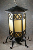 Wrought Iron Lantern Yellow glass - ANTIQUE -