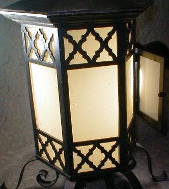 Wrought Iron Lantern Yellow glass - ANTIQUE -