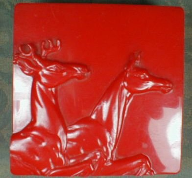 HICKOK Plastic BOX Buck & Doe, RED - VINTAGE -