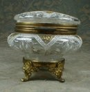 MOSER Footed BOX Enameled Glass - ANTIQUE -