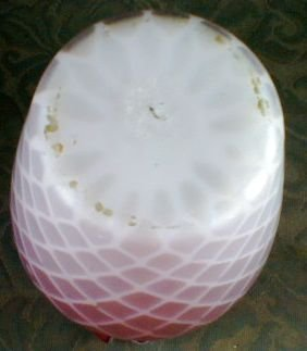 Pink Cased Glass Vase Satin Diamond Optic, Ruffled Top