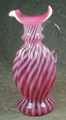 CRANBERRY Swirl ART Glass Ewer VASE
