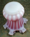 Satin Glass Vase Striped & Ruffled Rim