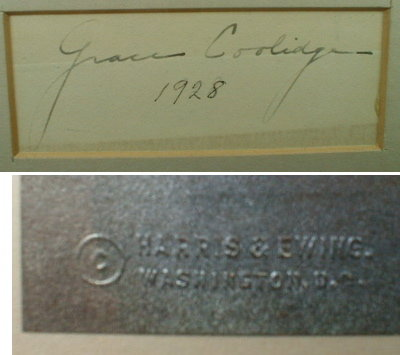 Grace COOLIDGE Autograph & Portrait FRAMED - 1928 -