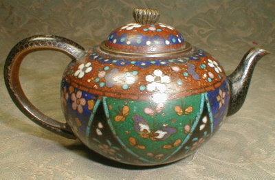 CLOISONNE Miniature Teapot Japanese -ANTIQUE-
