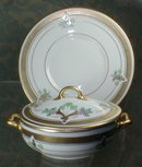 PICKARD Hand Painted Covered Dish + Underplate