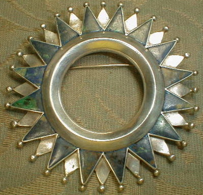 SPRATLING Sterling & Malachite BROOCH Mexico - LARGE -
