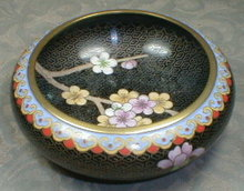 CLOISONNE Bowl CHERRY BLOSSOMS with Black Background
