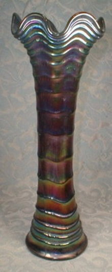 Ripple CARNIVAL Glass VASE Amethyst - IMPERIAL Glass Co. -