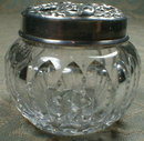 Mauser STERLING Top Dresser Cut Glass Jar