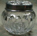 Mauser STERLING Top Dresser Cut Glass Jar