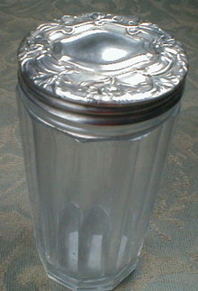 STERLING Top TALCUM Powder Dresser Jar -ANTIQUE-