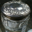 Repousse STERLING Top Rouge Dresser Jar ANTIQUE