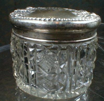 STERLING Top Dresser Jar - Brilliant Cut Glass -