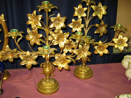Bronze Dore Lily Candelabras PAIR  -  ANTIQUE  -