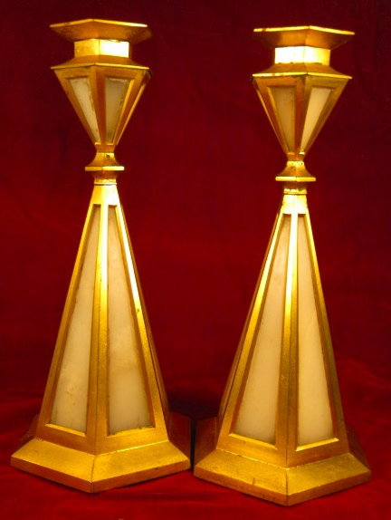 Art Deco Candlesticks Brass & Glass Insets England -ANTIQUE-