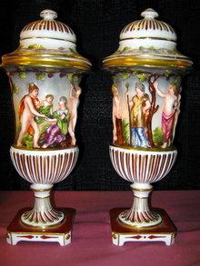 CAPODIMONTE Covered Urns - PAIR -