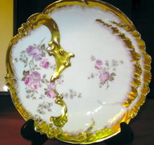 LIMOGES Gilded Bowl - PH Leonard Roses - ANTIQUE