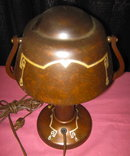 HEINTZ Helmet Shade LAMP Sterling on Bronze - ANTIQUE -