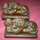 Lucerne Lion Bookends ANTIQUE Jennings Brothers  JB 1570