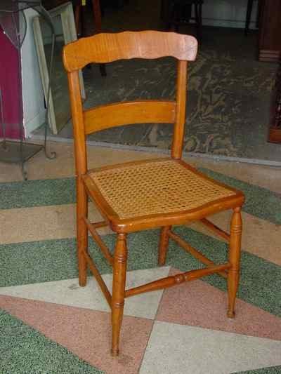 Antique Curly Maple Cane Seat Chair - Antiques, Art, Vintage