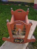 German Antique Hand Painted Cradle