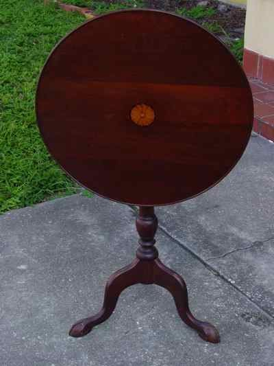 Antique Solid Mahogany Tilt-Top Table with Ball & Claw Feet