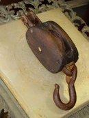 Antique Oak & Cast Iron Pulley