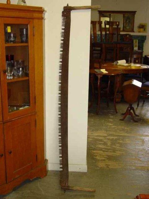 Antique Wooden Double Handle Crosscut Iron Saw