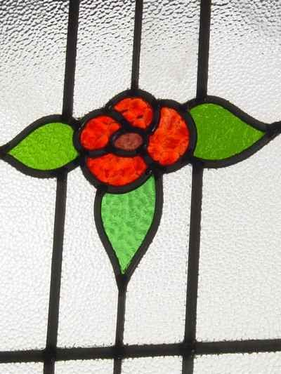 Red Rose & Yellow Bud Antique Stained Glass