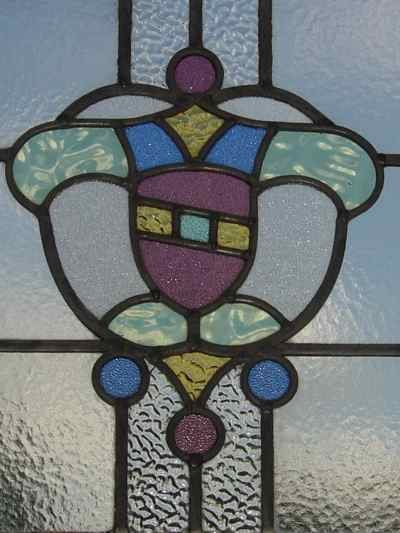 Multicolor Stylized Shield Antique Stained Glass