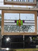 Tri Color Geometric Antique Stained Glass