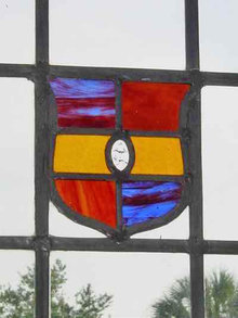 Multicolor Shield Coat of Arms Antique Stained Glass