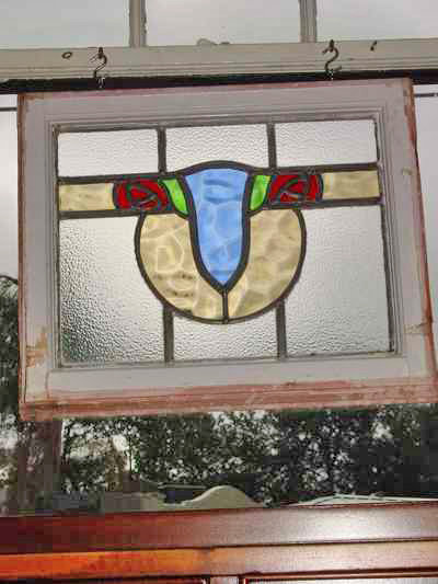 Red Duo Mackintosh Rose Antique Stained Glass