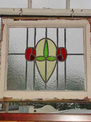 Green Bud Floral with Duo Mackintosh Rose Antique Stained Glass