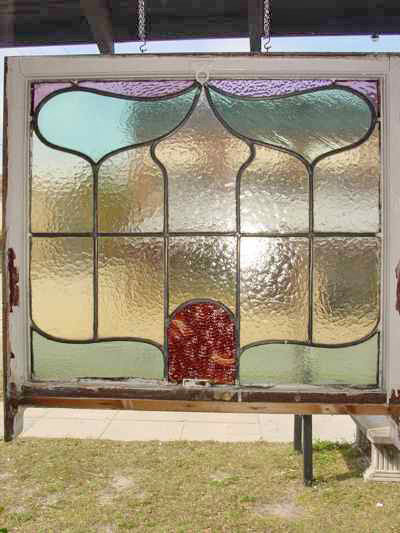 Art Nouveau Mottled Copper Antique Stained Glass