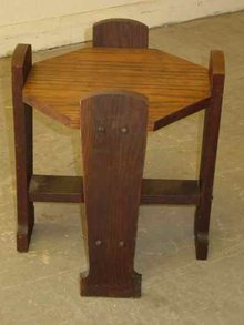 Antique Arts & Crafts Mission Style Octagonal Top Solid Oak Stand
