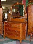Antique Solid Oak Dresser with Swing Beveled Mirror