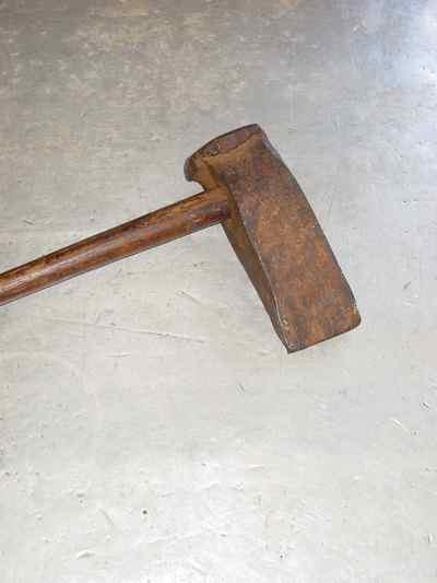 Antique Hand Forged Iron & Oak Log Splitter