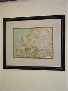Framed Antique European Map