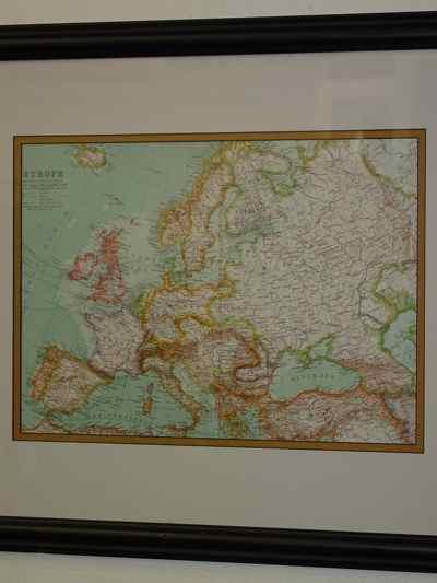 Framed Antique European Map