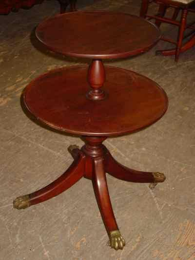 Federal Style Solid Mahogany Two-Tiered Butler's Table