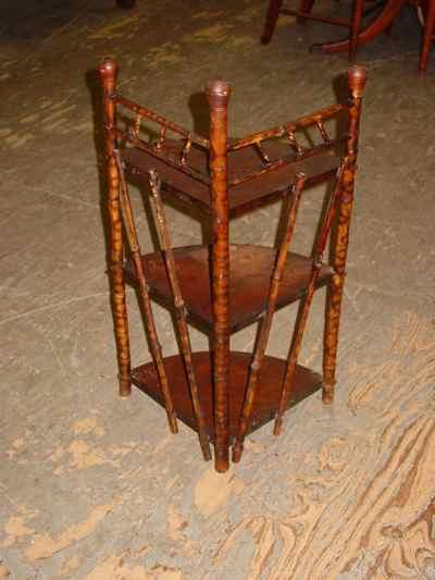 Antique Victorian Bamboo Three Tiered Corner Shelf