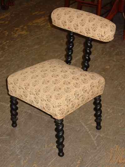 Antique Victorian Ebonized Mahogany Barley Twist Slipper Chair
