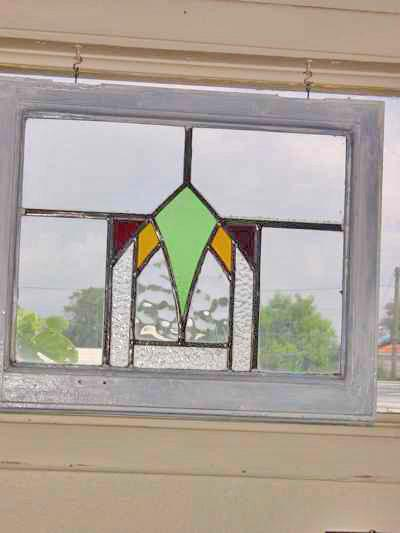 Art Deco Multicolor Arched Geometric Antique Stained Glass