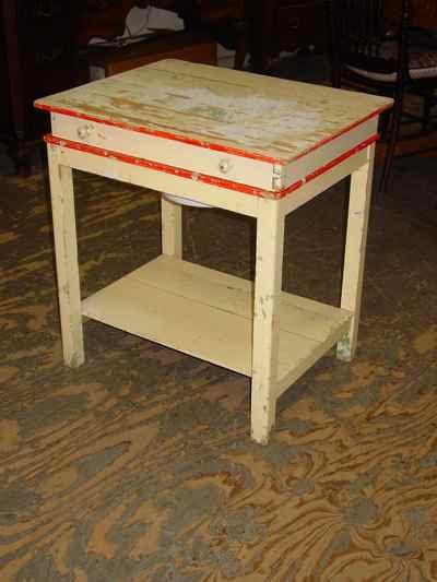 German Vintage FlipTop Painted Solid Pine Washstand